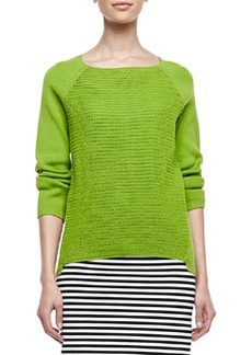 Lafayette 148 New York Open Weave Long-Raglan-Sleeve Sweater