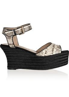 Brian Atwood Kelsie snake-effect leather platform sandals