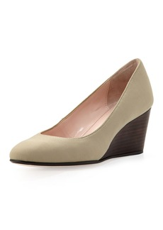 Taryn Rose Kathleen Sateen Wedge, Beige