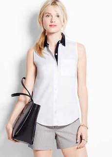 Contrast Perfect Stretch Cotton Sleeveless Shirt