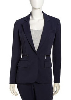 Nanette Lepore Superstar Zip-Pocket Blazer, Navy