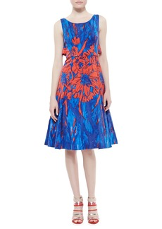 Tracy Reese Floral Printed Flyaway Dress, Blue/Scarlet