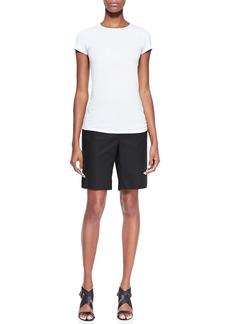 Lafayette 148 New York Metro Stretch Four-Pocket Bermuda Shorts, Black