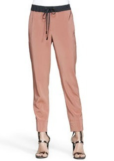 Brunello Cucinelli Drawstring Stretch Silk Pants