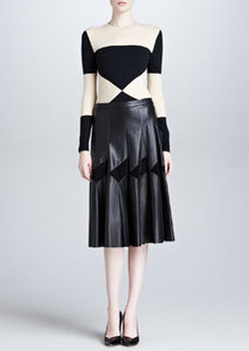 Derek Lam Long Pleated Leather Skirt, Black