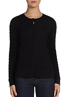 Elie Tahari Gretchen Leather-Stitch Merino Cardigan