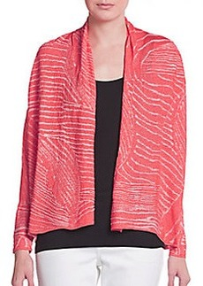 Lafayette 148 New York Cropped Leaf-Print Cardigan