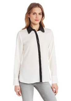 Calvin Klein Women's Blouse with Faux-Leather Collar