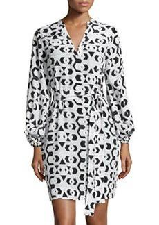 Diane von Furstenberg Lantern-Sleeve Belted Faille Dress, Hexagon Maze Black