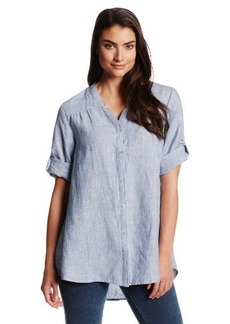 Jones New York Women's Notched Collar Roll Sleeve Shirt