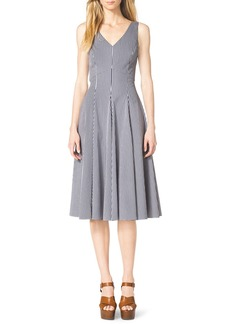 Michael Kors Gingham Check Sleeveless A-Line Dress