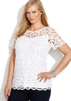 INC International Concepts Plus Size Short-Sleeve Lace Top