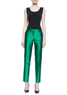 Michael Kors Samantha Slim Shantung Pants, Emerald