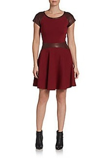 Diane von Furstenberg Delyse Leather Combo Dress