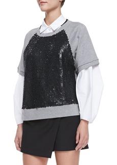 Robert Rodriguez Armor Jersey Beaded Sweatshirt