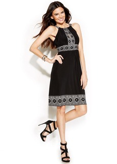 INC International Concepts Petite Embellished Printed Halter Dress