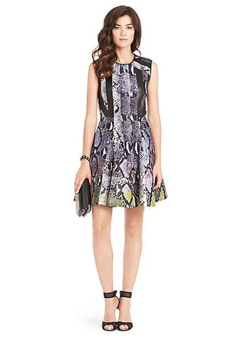 Ida Leather Detail Fit and Flare Dress