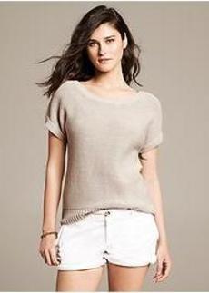 Draped Short-Sleeve Pullover