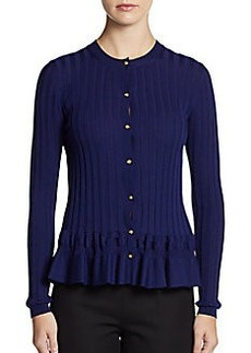Emilio Pucci Ribbed Ruffled Hem Wool Cardigan