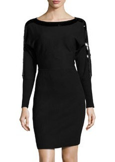 Marc New York by Andrew Marc Sequin-Trimmed Mixed-Knit Sweaterdress, Black