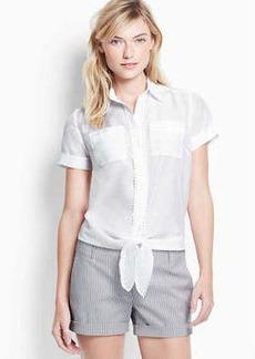 Petite Cotton Silk Tie Front Shirt
