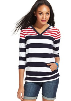 Tommy Hilfiger Long-Sleeve Striped Colorblocked Hooded Top