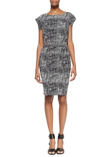 Shoshanna Faye Short-Sleeve Printed Dress, Black/White