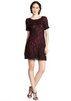 A.B.S. by Allen Schwartz black and red cotton blend lace short sleeve dress