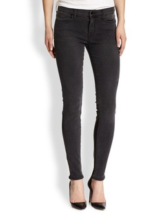 J Brand Stepped Leather-Panel Skinny Jeans
