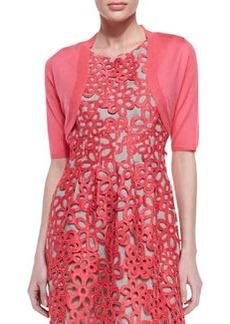 Lela Rose Half-Sleeve Shrug, Peony Pink