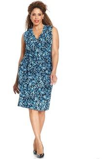 Jones New York Collection Plus Size Sleeveless Floral-Print Faux-Wrap Dress