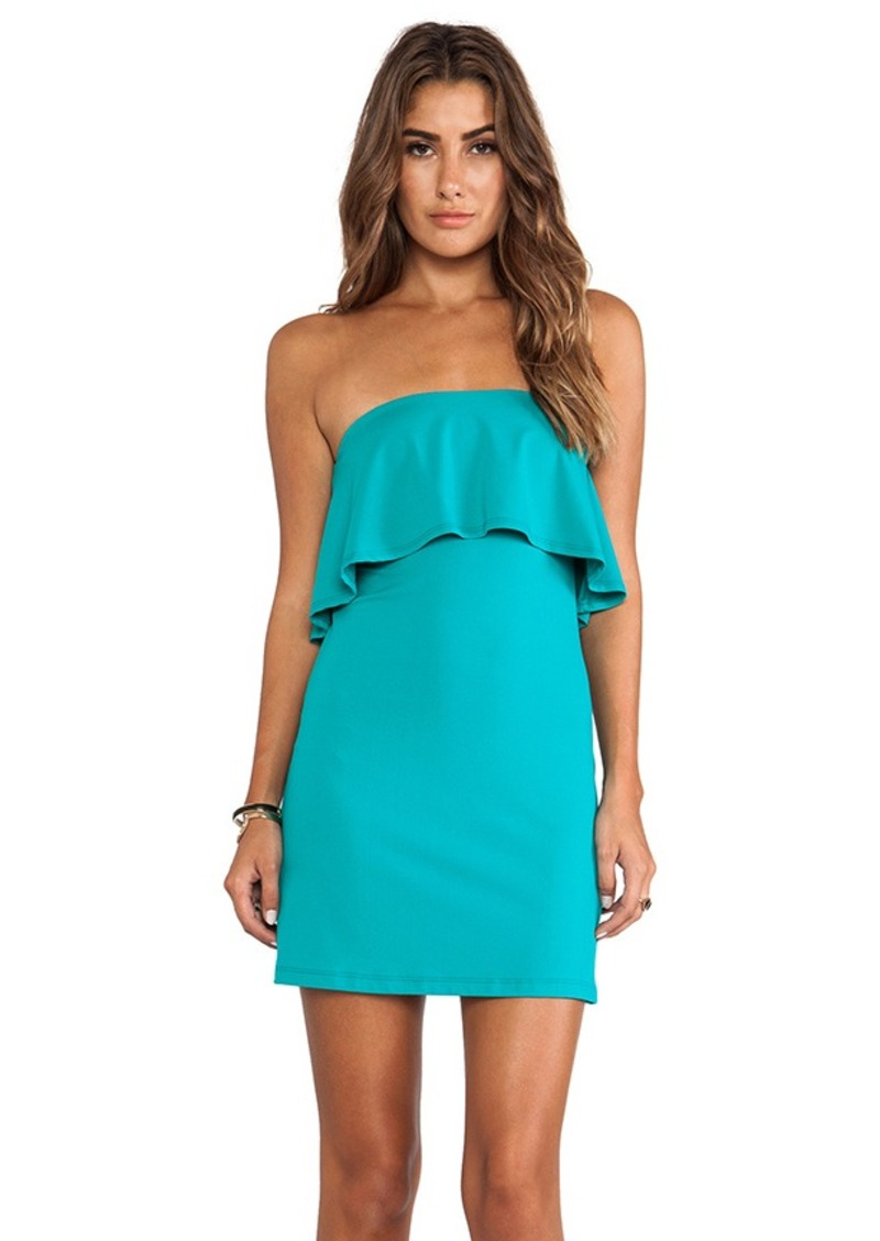 Susana Monaco Sansa Ruffle Top Strapless Dress in Teal