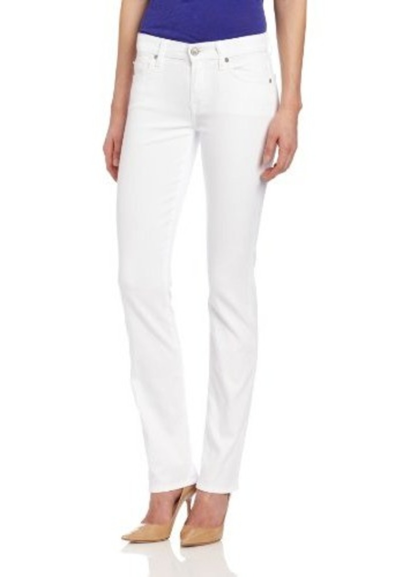 7 for all mankind 7 for all mankind women 39 s kimmie straight leg jean in clean white denim. Black Bedroom Furniture Sets. Home Design Ideas