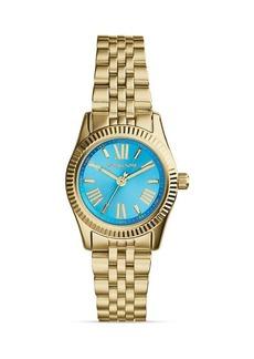 Michael Kors Mini Gold-Tone & Blue Lexington Three-Hand Watch, 26mm
