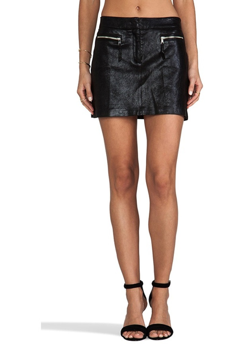 milly milly milly stretch plonge leather mini skirt in