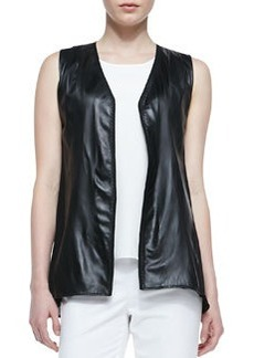 Lafayette 148 New York Lambskin Leather Vest with Georgette Back