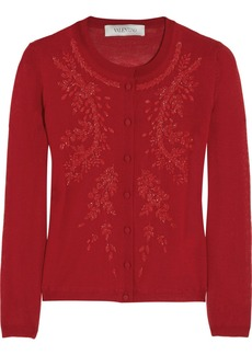 Valentino Beaded cashmere and silk-blend cardigan