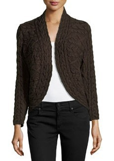 Lafayette 148 New York Mixed Cable-Knit Striped Cardigan, Sable