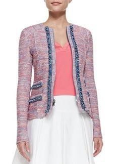 Nanette Lepore Sand Castle Trimmed Tweed Jacket