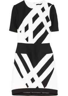 Tibi Geometric-print cotton-piqué and crepe dress