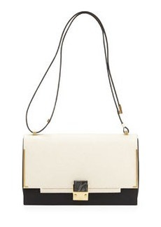 Partition Two-Tone Shoulder Bag, White/Black   Partition Two-Tone Shoulder Bag, White/Black