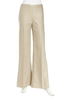 Lafayette 148 New York Wide-Leg Linen Pants, Khaki