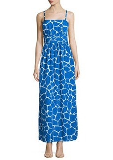 Susana Monaco Giraffe-Print pleated Maxi Dress, Sapphire