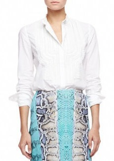 Roberto Cavalli Embroidered Bib Poplin Blouse, White