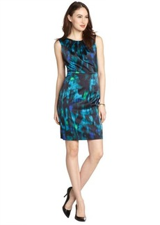 Tahari midnight dream stretch watercolor pattern 'Rosario' sleeveless dress