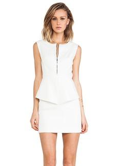 Tibi City Peplum Dress in White