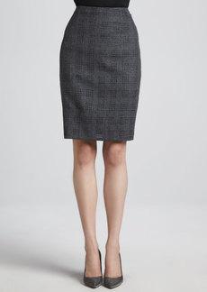 Escada Cutout-Flannel Pencil Skirt, Anthracite