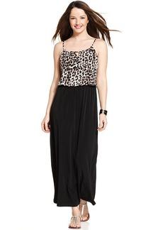 Style&co. Petite Printed-Bodice Blouson Maxi Dress