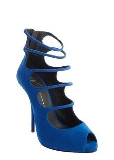 Giuseppe Zanotti cobalt blue suede strap cut out peep toe pumps