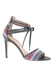 Collection woven raffia tie-front high-heel sandals
